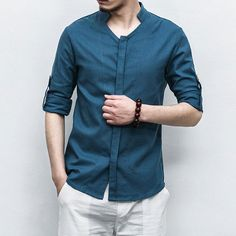 Plus Size Chinese Style Loose Linen Shirts for Men - Mens Shirts Casual - Ideas of Mens Shirts Casual - Plus Size Chinese Style Loose Linen Shirts for Men Formal Dresses For Men, Formal Shirts For Men, Linen Shirts For Men, Mens Casual Shirts, Formal Wear For Men, Dress Formal, Mens Fashion Suits, Men's Fashion, Fashion Shirts