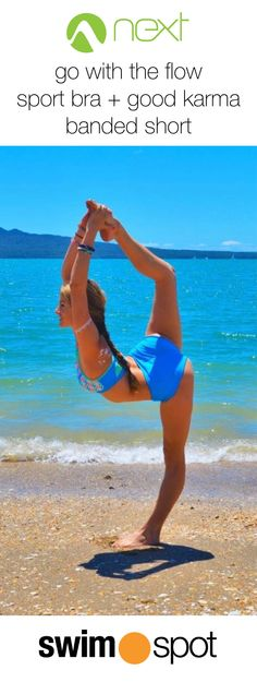 Kylan Fischer wearing NEXT Go With the Flow Sport Bra + NEXT Good Karma Go Girl Banded Short! #yoga #fitspo