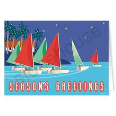 Festive, Holiday Regatta!  Taking the boats out for a nighttime sail!  Season's Greetings Holiday Boats Christmas Card