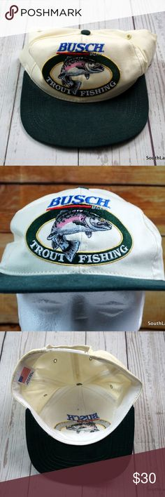 80's Busch Beer Trout Fishing Snapback Hat OSFA Vintage Busch Beer Hat, Busch Beer Trout Fishing Snapback Hat, OSFA, Large Patch Logo, Beige & Green, 80s Fashion, Made in the USA, Cap  Hat will be shipped in a cardboard hat sized box for its safety during delivery.  Brand: Busch Beer Size: Adult One Size Fits All Material: Cotton  Made in the USA  Ships in 1 business day or less from a clean and smoke free environment. Bundle to Save!  Thanks! Busch Beer Accessories Hats