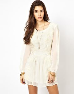 Free People White Crinkle Leigh Dress in Lace