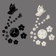 Fashion DIY Butterfly Sticker Home Room Decorative Mirror Wall Decal Clock Diy Butterfly Decorations, House Rooms, Diy Fashion, Wall Decals, Clock, Stickers, Mirror, Home Decor, Watch
