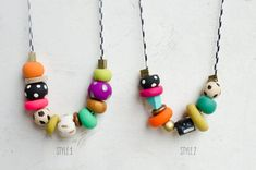 Clay Pattern Handpainted Necklaces by JillMakes on Etsy