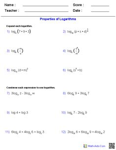 Printables Log Properties Worksheet properties of ellipses worksheets math aids com pinterest logarithms worksheets
