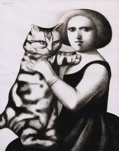 """Reynaldo Fonseca (Brazilian, b. 1925) - """"Mulher Com Gato"""" (Woman and cat), 1976 - Pastel on paper"""
