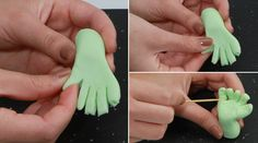 Making a fondant Zombie hand for Cupcakes