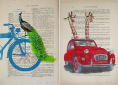 """Coco de Paris,a mixed media designer, paints charming and humorous creatures on antique french paper. This series in particular was illustrated on """"La Petit Illustration,""""a weekly French literary journal that published plays, novels, and short stories in the 1920s"""