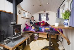 My cosy shepherd's hut, hygge in a hut! Mobile Living, Shepherds Hut, Hygge, Cosy, Toddler Bed, English, Interiors, Inspiration, Furniture