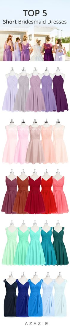 Knee length dresses in over 50 colors! Available in sizes 0-30 with free custom sizing. Wedding tip: Try our sample program to try on dresses in the comfort of your own home!