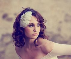 White Feather Fascinator Bridal Head Piece by BatcakesCouture, $84.99