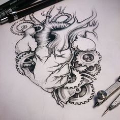 Ideas Drawing Sketches Pencil Broken Heart For 2019 Broken Heart Sketch, Broken Heart Drawings, Gear Drawing, Drawing Sketches, Sketching, Chest Tattoos For Women, Tattoos For Guys, Bleeding Heart Tattoo, Drawing Face Expressions