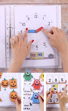 This Printable Halloween Quiet Book will have your kids practice a variety of basic skills – sort the jars full of spooky ingredients, match shapes with Jack'o'Lanterns, make a bat smile and more. games for preschoolers Printable Halloween Quiet Book Kindergarten Learning, Preschool Learning Activities, Preschool Activities, Teaching Kids, English Activities, Quiet Toddler Activities, Teaching Emotions, Fun Learning, Quiet Books