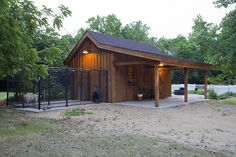 Garden Shed post and beam other structures projects by Sand Creek Post & Beam. View this gallery for ideas on your next dream barn. Dog Boarding Kennels, Dog Kennels, Dog Kennel Designs, Kennel Ideas, Gambrel Barn, Beam Structure, Barn Kits, Dog Spaces, Shed Kits