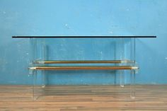 Lucite Brass and Glass Coffee Table