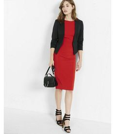 A Business Dress Paired With A Fitted Black Blazer Is A Great Look