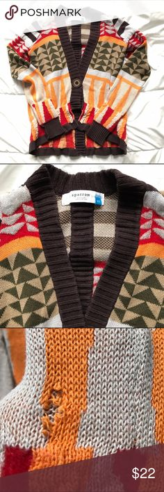 """Sparrow Anthropologie Aztec lambswool cardigan Good preloved condition. Threads have come apart on left sleeve as seen in the photo.  42% linen, 38% cotton and 20% lambswool Chest: 14"""" Sleeve length: 24"""" Length: 18"""" front and 23"""" back Anthropologie Sweaters Cardigans"""
