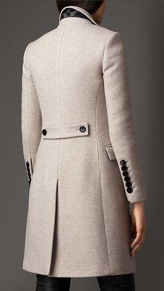 Pearl grey Virgin Wool Cashmere Herringbone Chesterfield - Image 2
