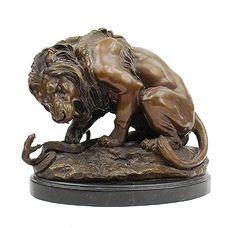 Found on www.botterweg.com - Bronze sculpture Lion et serpent on marble base Antoine-Louis Barye 1795-1875 executed at later date stamped Bronze Garanti Paris JB Deposee