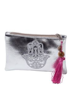 """Ideal small hamsa embroidered clutch with a top tassel zipper closure.    Approx Measure: 5.5"""" x 3.5"""" x 1"""".   Small Hamsa Clutch  by Le Beau Maroc . Bags - Wallets & Wristlets Florida"""
