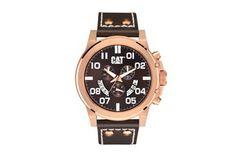 Relógio de quartzo de couro - Castanho e dourado rosa