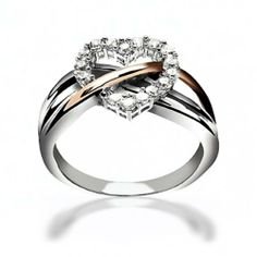 Sterling Silver CZ Heart Ring with Rose Gold Vermeil Accent