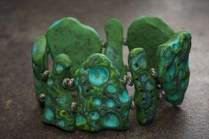 Organic Stone Bracelet final - TUTORIAL incorporating making beads, mokume game, using cutters and tools.