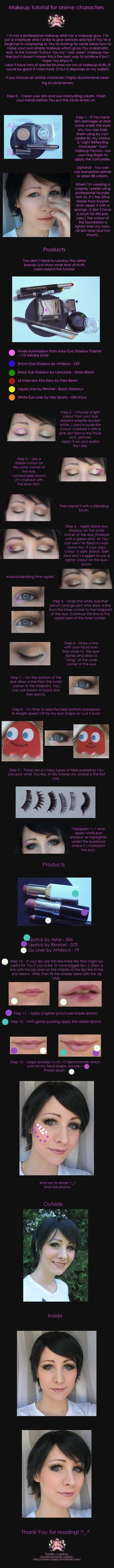 Cosplay makeup tutorial for anime characters by Tazziecosplay.deviantart.com on @DeviantArt