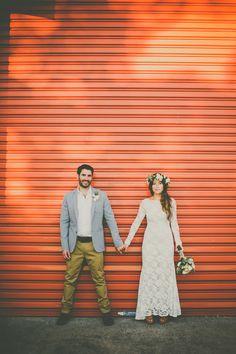 MARTINE   ASHER. Boho bride with flower crown and vintage wedding dress.