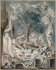 """William Blake: 'The Gambols of Ghosts', from Robert Blair's """"The Grave"""", 1805, object 3. Pen, ink and water colors over traces of pencil on wove paper"""