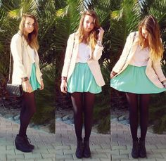 Pimkie Mint Cream Skirt, H&M Pink Blazer, White T Shirt, H&M Black Wedges