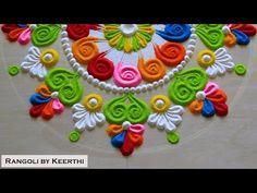 Simple rangoli design l colourful rangoli l सुंदर रंगोली l rangoli by keerthi l kolam l रंगोली - YouTube Lotus Rangoli, Rangoli Designs, Kids Rugs, Youtube, Home Decor, Decoration Home, Kid Friendly Rugs, Room Decor, Interior Decorating