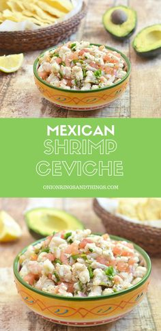 Shrimp Ceviche that's refreshingly tangy, slightly spicy, and served up with creamy slices of avocado and crisp tortilla chips. It's a delicious way to cool off this summer! Fish Recipes, Seafood Recipes, Mexican Food Recipes, Appetizer Recipes, Cooking Recipes, Healthy Recipes, Ethnic Recipes, Mexican Desserts, Seafood Appetizers