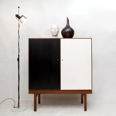 Jos de Mey (Flemisch-Belgian 1928-2007) Teak and Lacquered Wood Cabinet for Van Den Berghe-Pauvers, 1950s.