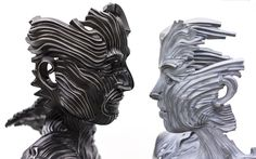 """Though cast from bands of stainless steel ribbons, these figurative sculptures by Texas-based artist Gil Bruvel seem more fluid than solid, as if the wind could simply blow them apart. The works above are all part of the artist's Flow series that he says are meant to reveal """"an essential underlying fluidity that exists simultaneously within the physical, quantum, and metaphoric realms."""""""