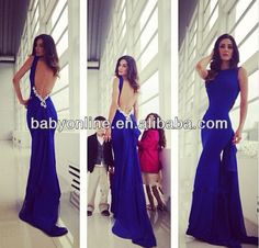 New arrivals sleeveless high neck backless royal blue dress long prom dress evening dress BO5114 $173.00