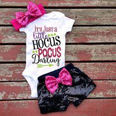 It's Just A Little Hocus Pocus Halloween Bodysuit, Baby Girl, Girls, Toddler, Sparkle, Glitter, Halloween, Happy Hallowen, Pumpkin, Fall