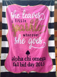 Kate Spade inspired Bid Day Banner | Alpha Chi Omega | southeast missouri state university