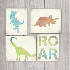 Dinosaur Art (Set of 4) - 8x10 Boy Nursery, Dinosaur Print, Dinosaur Printable, Dino Art, Dinosaur Decor, Dinosaur Art Print