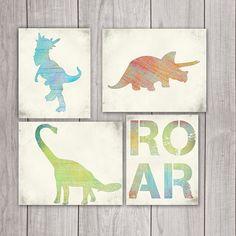 Dinosaur Art (Set of 4) - 8x10 Boy Nursery, Dinosaur Print, Dinosaur Printable, Dino Art, Dinosaur Decor, Dinosaur Art Print