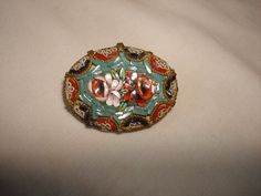 Antique Italian Micro Mosaic Oval Brooch by PastPossessionsOnly