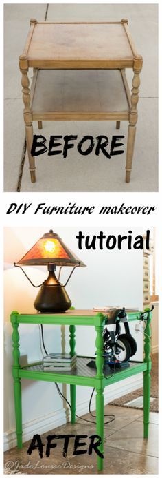 DIY Furniture Makeover. How to turn a yard sale end table into a cool Tech side table for kids! Including new top, electronics hooks and new paint.