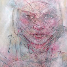 Blush - Jason Thielke Acrylic, aerosol, graphite, color pencil and scoring on wood panel Abstract Portrait, Abstract Art, Pop Surrealism, Sculpture, Illustration Sketches, Best Artist, Beautiful Artwork, Figurative Art, New Art