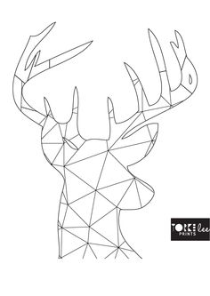 Patterned Stag Head Wall Art Print A5*