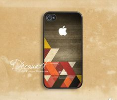 iPhone 5 case, iPhone 4 case, iPhone 4s case, case for iPhone 4, geometric shapes with apple logo B269