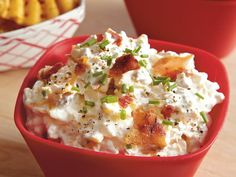 Loaded Baked Potato Dip ~ Here is a delicious concoction of all the favorite baked potato toppers! Bacon, sour cream, cheese, chives and hot sauce are combined to make a decadent appetizer dip.  Serve with crispy baked waffle fries, crackers, party bread slices or chips as dippers.