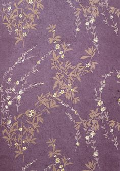 Aubergine wallpaper with Gold and cream printed floral design. Being made from heavyweight coarse paper, this wallpaper is wonderfully tactile and textured. From Thibaut. Gold Wallpaper, Pattern Wallpaper, Motif Floral, Floral Prints, Ditsy Floral, Floral Design, Textures Patterns, Print Patterns, Pattern Print