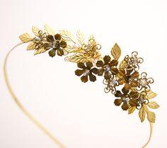 Golden wedding tiara, gold leaves and vintage brass flower headband