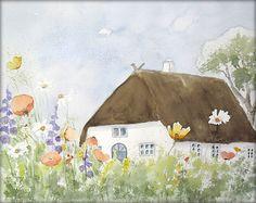 Friesenhaus mit Bauerngarten - Aquarell - 24 x 30 cm - Original - Landschaft