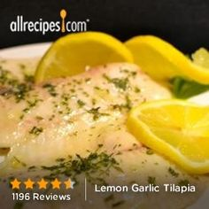 Lemon Garlic Tilapia 375 add 3 T. lemon juice, 1 T. melted butter, 1 clove crushed garlic, 1 t. or grill. Fish Recipes, Seafood Recipes, Great Recipes, Favorite Recipes, Skinny Recipes, Healthy Recipes, Frango Chicken, Grilled Seafood, Tilapia