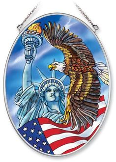 Amia Hand Painted Glass Suncatcher with Statue of Liberty and Eagle Design, 5-1/4-Inch by 7-Inch Oval by Amia. $19.00. Comes boxed, makes for a great gift. Includes chain. Handpainted glass. Amia glass is a top selling line of handpainted glass decor. Known for tying in rich colors and excellent designs, Amia has a full line of handpainted glass pieces to satisfy your decor needs. Items in the line range from suncatchers, window decor panels, vases, votives and much more.